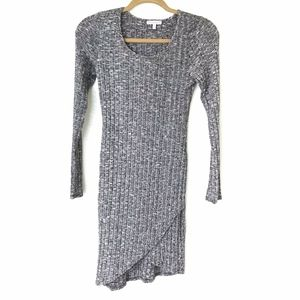 Charlotte Russe* Grey Body Con Ribbed Grey Dress S